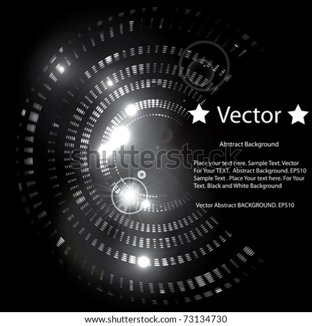 Vector Shining Abstract Circle on Black Background - stock vector