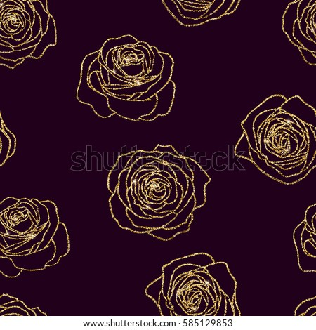 Vector shining golden glitter roses flower outline contour floral seamless pattern