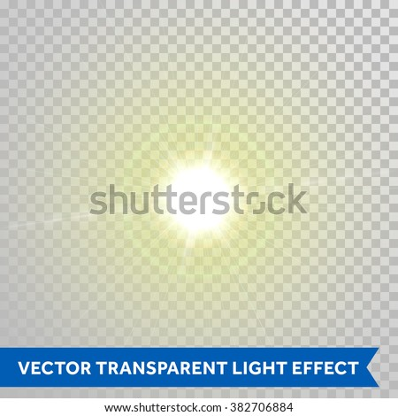 Vector shining sunlight magic spark. Glaring star with lens flare optical effect. Glowing sunlight isolated on transparent background - stock vector