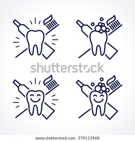 Vector shining teeth with toothbrush and toothpaste. Oral hygiene and teeth care labels set. Green, blue, turquoise transparent overlapping linear vector illustration. Symbol, sign, icon, logo - stock vector