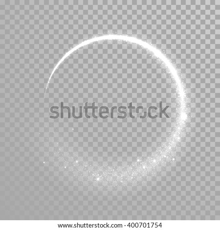 Vector shining twisted glitter comet trails. Special light flare effect - stock vector