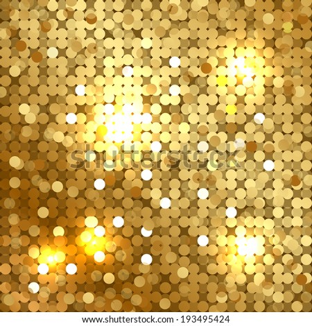 Vector shiny background with gold sequins - stock vector