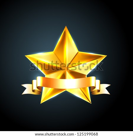 Vector shiny beveled golden star with golden ribbon - stock vector