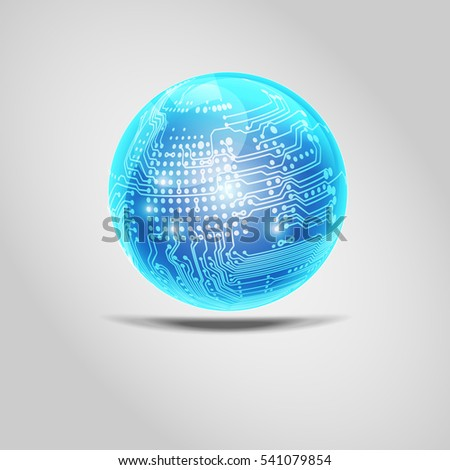 Vector shiny blue ball isolated. Digital electronic circuit board combined with glossy ball