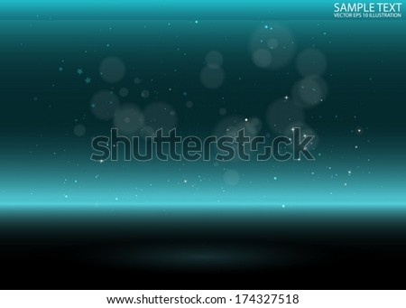 Vector shiny blue virtual 3D space  background template - Vector 3D  sparks over reflective background  - stock vector