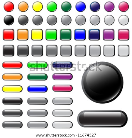 Vector shiny button elements in different colors for website design.