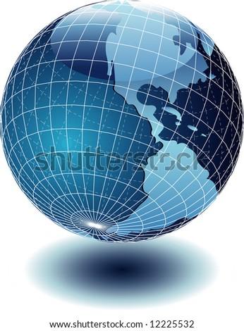 vector shiny globe with shadow - stock vector