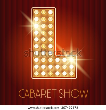 Vector shiny gold lamp alphabet in cabaret show style. Letter L - stock vector