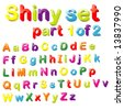 Vector Shiny Magnets Set (Part 1 of 2) - Alphabet in Small & Capital Letters - stock photo