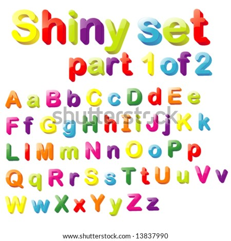 Vector Shiny Magnets Set (Part 1 of 2) - Alphabet in Small & Capital Letters - stock vector