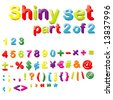 Vector Shiny Magnets Set (Part 2 of 2) - Numbers, Maths, Currencies & Punctuation Marks - stock vector