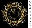Vector shiny New Year Clock - stock vector