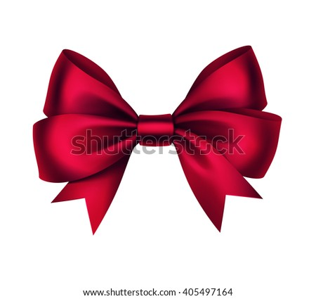 Vector Shiny Red Satin Gift Bow Close up Isolated on White Background - stock vector