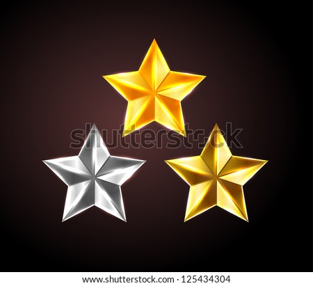 Vector shiny stars: golden, silver and bronze - stock vector
