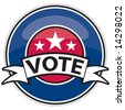 Vector shiny Web 2.0 style banner button with stars and VOTE graphic. Patriotic colors. - stock photo