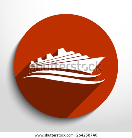 Vector ship flat icon illustration. - stock vector