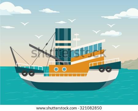 Vector ship flat illustration - stock vector