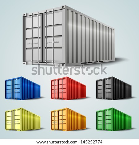 Vector shipping containers - stock vector