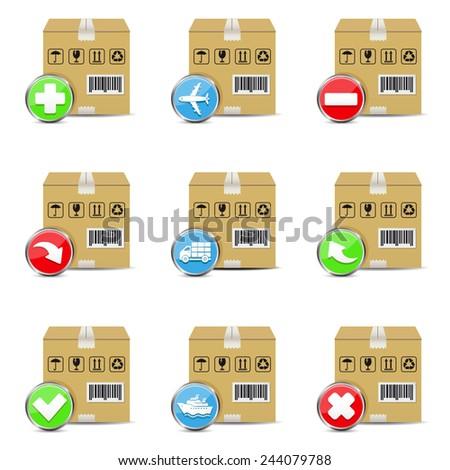 Vector shipping icons set - stock vector