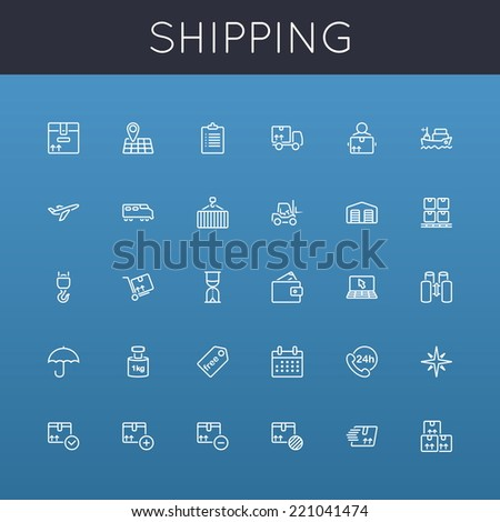 Vector Shipping Line Icons - stock vector
