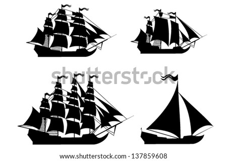 Vector ships set with separate editable elements. - stock vector
