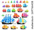 Vector ships set with separate editable elements. ALL TYPES of sailing ships.  - stock