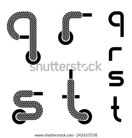 vector shoelace alphabet lower case letters q r s t - stock vector