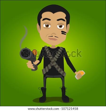 vector shooter  illustration - stock vector