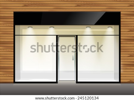 Vector Shop Boutique Store Front with Big Window and Place for Name - stock vector