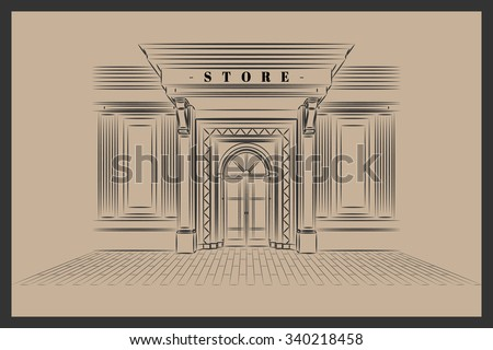 Vector Shop Boutique Store Front with Big Window and Place for Name Shop Front. Exterior horizontal windows empty for your store product presentation or design. Shop Front. Vector. EPS 10 Illustrator. - stock vector