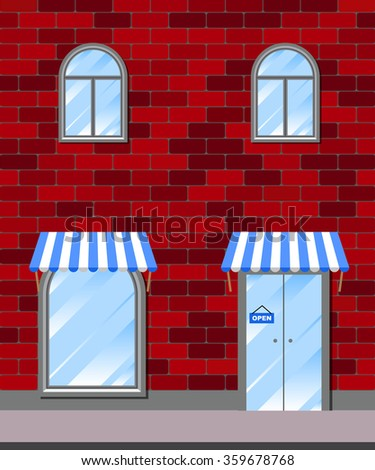 Vector shop or market illustration background. Entrance door, shop-window on the background of a brick wall  - stock vector