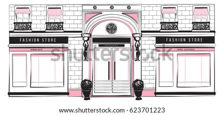 Vector Shopfront Detailed Pink Black And White Graphic Illustration Design Vintage Boutique Facade
