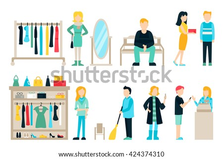 Vector shopping and shipping flat icons set. Mall Staff, Happy Buyers Isolated On White Background, Furniture, Clothes, People Vector Illustration, Graphic Editable For Your Design - stock vector