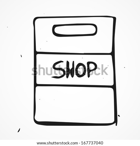 Vector shopping bag icon, hand drawn - stock vector