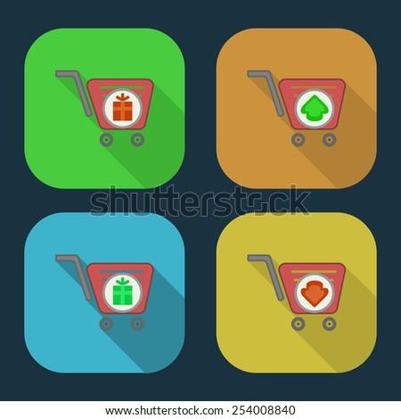 Vector shopping basket icon. part 8 - stock vector