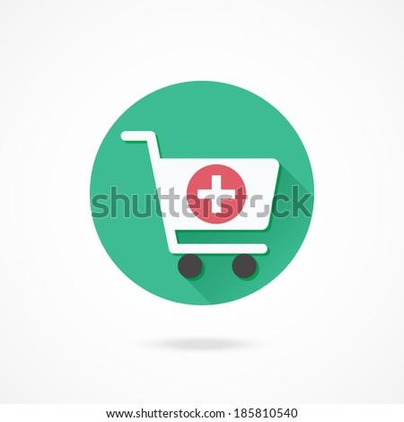 Vector Shopping Cart Add to Cart Icon - stock vector
