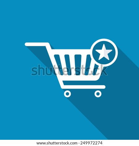 Vector Shopping Cart and Star Sign Icon, favorite symbol. Modern design flat style icon with long shadow effect - stock vector