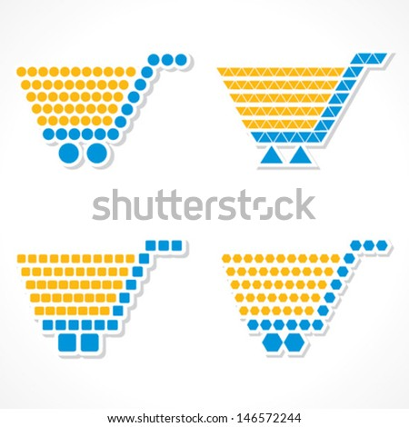 Vector Shopping Cart Icon Set with different shapes stock vector - stock vector