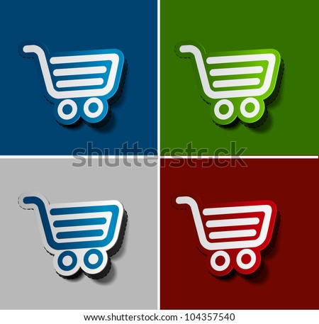 Vector shopping cart item - buy buttons design. - stock vector