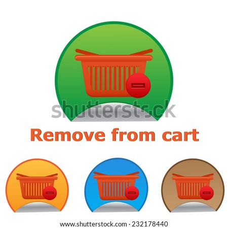 Vector shopping cart item - remove buttons - stock vector