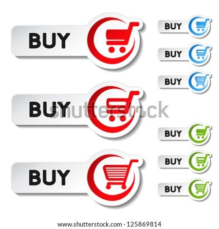 Vector shopping cart item, trolley, buy button - stock vector