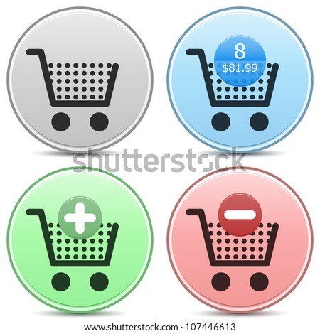 "Vector shopping cart trolley icon matte button set. Includes ""empty cart"", ""filled cart"" with item count and valuation, ""add to cart"" and ""remove from cart"" icons. EPS10."