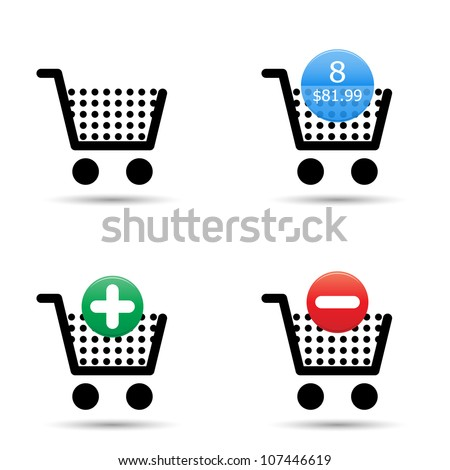 "Vector shopping cart trolley icons set. Includes ""empty cart"", ""filled cart"" with item count and valuation, ""add to cart"" and ""remove from cart"" icons. EPS10."