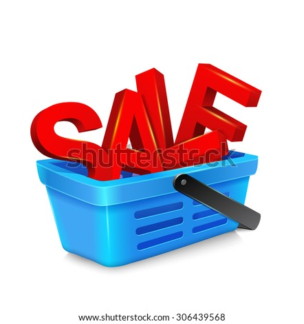 "vector shopping cart with big, bulky, red letters, ""sale"""