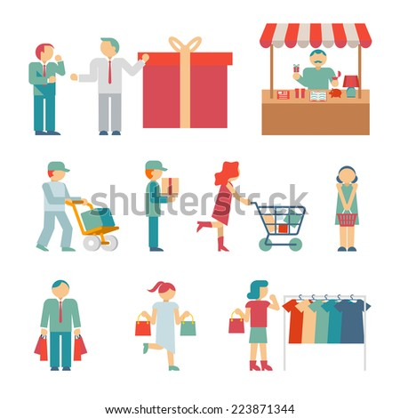 Vector Shopping Characters and employees of delivery on White Background - stock vector