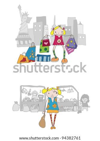 vector shopping girl - stock vector