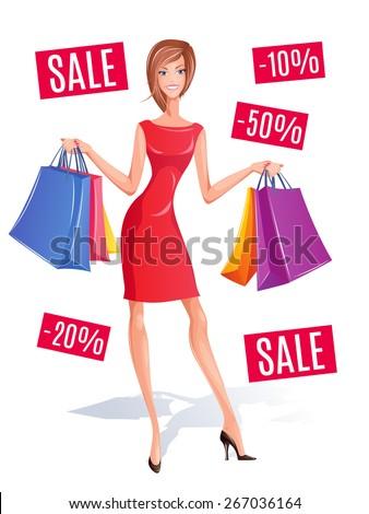 Vector shopping girl with shopping bags.  - stock vector
