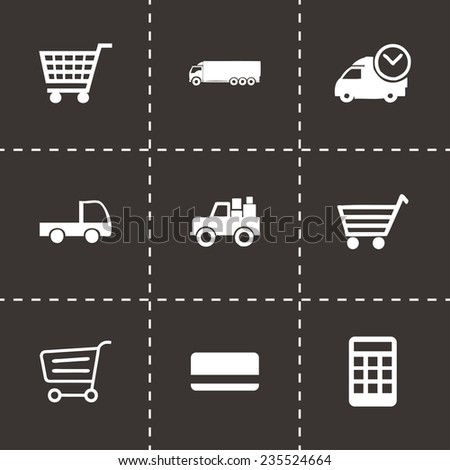 Vector shopping icon set on black background