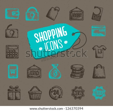 Vector shopping icons - stock vector