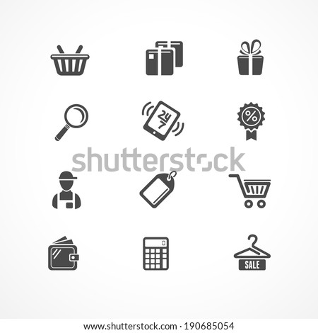 Vector Shopping icons black on white background